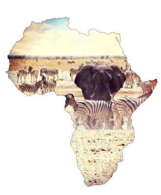 Sticker Karte von Afrika Kontinent Konzept, Safari auf Wasserloch mit Elefanten