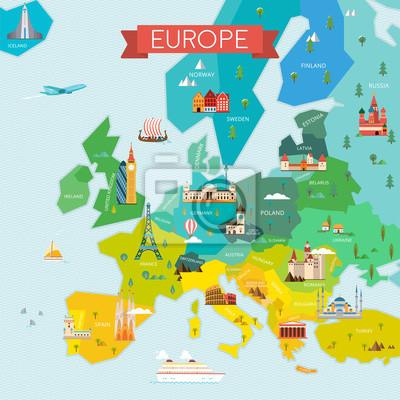 Karte von Europa mit Namen.