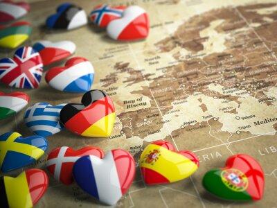 Sticker Karte von Europa und Herzen mit Flaggen der europäischen Länder. Trave