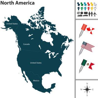 Sticker Karte von Nordamerika