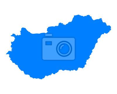 Sticker Karte von Ungarn