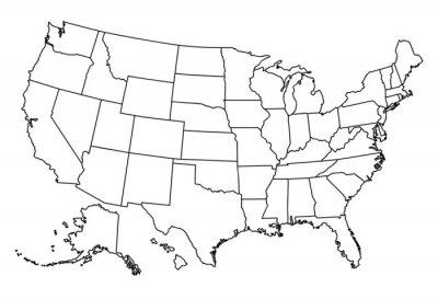 Sticker Karte von USA