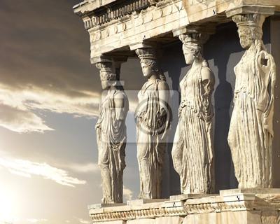 Sticker Karyatiden, Erechtheion Tempel auf der Akropolis von Athen, Griechenland