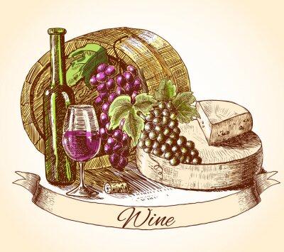 Sticker Käse-Wein und Brot Hintergrund