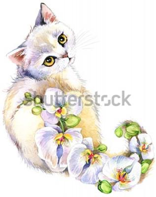 Sticker Katze. Blumenaquarellillustration.