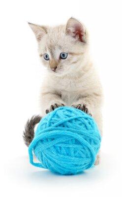 Sticker Katze mit Ball aus Garn