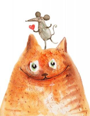 Sticker Katze mit mause