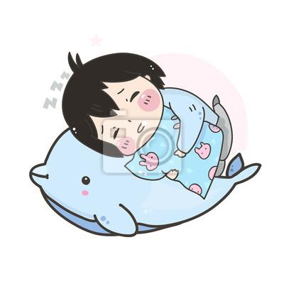 Kawaii sleeping girl and dolphin. Hand drawn vector illustration