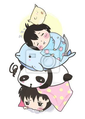 Kawaii sleeping girls with various animals. Hand drawn vector illustration