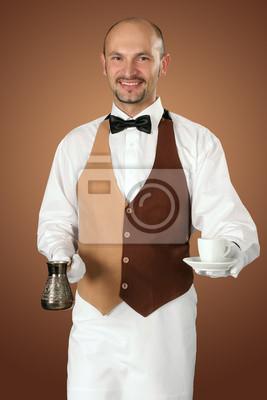 Sticker Kellner in Uniform mit Kaffeekanne und Tasse Kaffee.