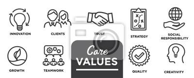 Sticker Kernwerte - Mission, Integritätswert-Symbol mit Vision, Ehrlichkeit, Leidenschaft und Zusammenarbeit als Ziel oder Fokus gesetzt