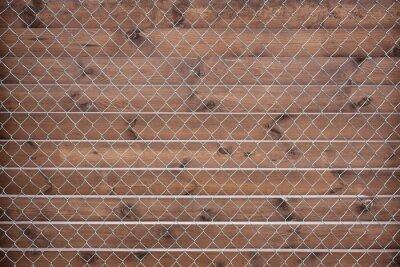 Kettenglied Zaun sehen alten Holz Hintergrund