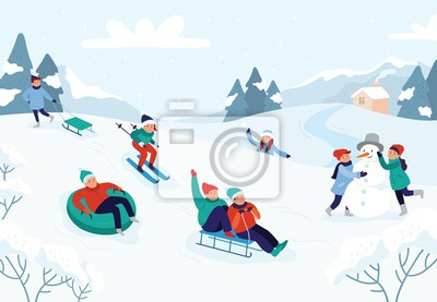 Sticker Kids riding sledding slide. Snow landscape, winter snowy fun activities. Sled speed riding or childhood holiday sledge ride game activity vector illustration