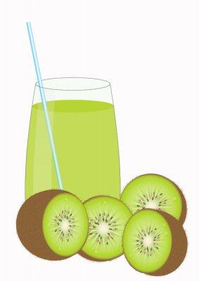 Sticker Kiiwi Fruchtsaft und Kiwi Hälften