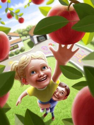 Sticker Kinder erreichen für einen Apfel