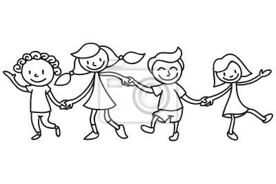 Sticker Kinder Freundschaft Ausmalbild