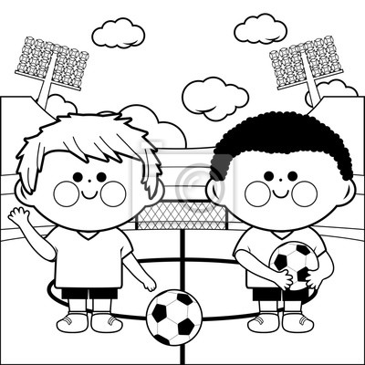 Kinder fußballspieler im stadion. malvorlage notebook-sticker ...