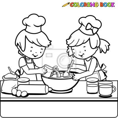 Kinder Kochen Ausmalbilder Seite Wandsticker Skizzierten Arbeitsplatte Farben Myloview De