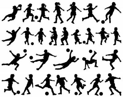 Sticker Kinder spielen Fußball Vektor-Silhouetten