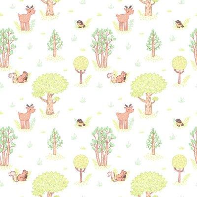 Sticker Kinder Stilzeichnung cute doodle Bäume Vektor nahtlose Muster.