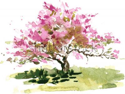 Sticker Kirschblüten-Baumzeichnung durch Aquarell, Aquarellskizze des blühenden Apfels blüht und malt Garten, Hand gezeichneter vektorkunsthintergrund
