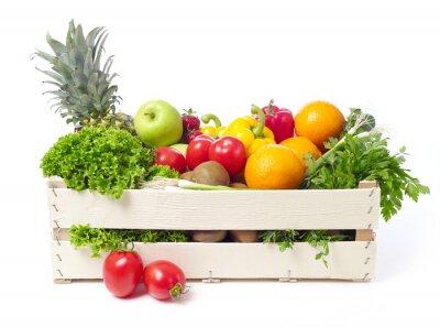 Sticker Kiste mit Obst und Gemüse