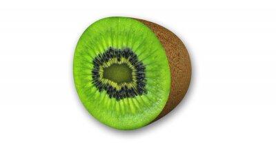 Sticker Kiwi in Scheiben geschnitten, Obst halbiert auf weißem Hintergrund