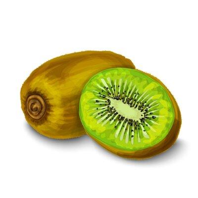 Sticker Kiwi isoliert Poster oder Emblem