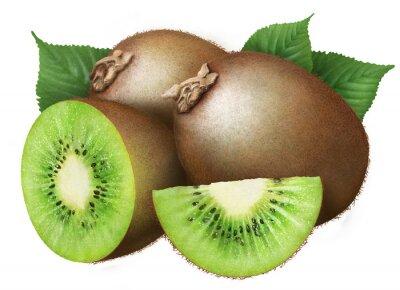 Sticker kiwi mit Blättern auf weißem Hintergrund, Früchte
