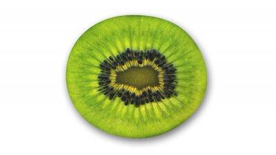 Sticker Kiwi-Scheibe, tropische Früchte halbiert auf weißem Hintergrund