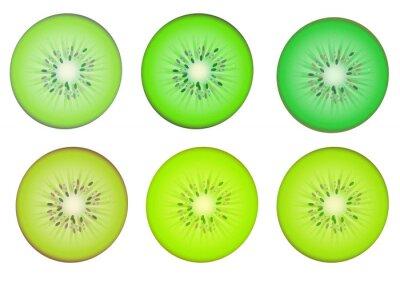 Sticker Kiwi-Scheiben in mehreren grünen Farbton Farbe