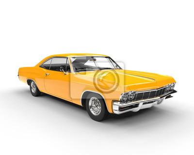 Sticker Klassische muscle gelbe Auto - Studio Beleuchtung Schuss