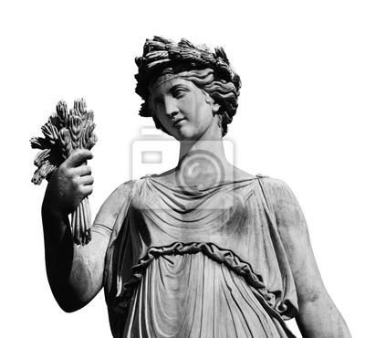 Sticker Klassische römische oder griechische Göttin Statue (isoliert auf weißem Hintergrund)