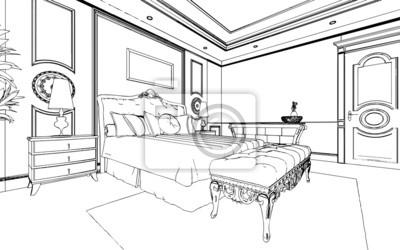 Klassische schlafzimmer interieur in schwarz-weiß-grafiken entworfen ...