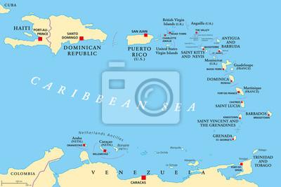 Karibik Karte.Sticker Kleine Antillen Politische Karte Die Karibik Mit Haiti Die