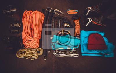 Kletterausrüstung Set : Kletterausrüstung set orange seil steigeisen eispickel schuhe