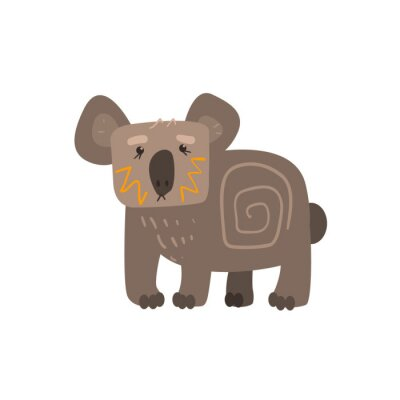 Sticker Koala stehende flache Karikatur stilisiert