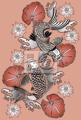 Koi-Fische im traditionellen japanischen Stil Tinte