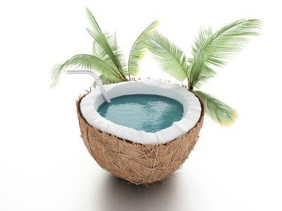 Sticker Kokos-Paradies. Sommer-Konzept auf weißem Hintergrund