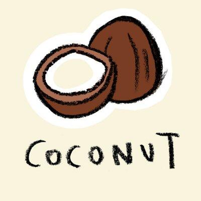 Sticker Kokosnuss auf hellem Hintergrund