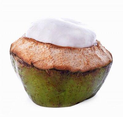 Sticker Kokosnussschale getrennt auf weißem Hintergrund