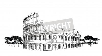 Kolosseum in Rom, Italien Wahrzeichen Kolosseum, Hand gezeichnete Illustration Rom Stadtlandschaft