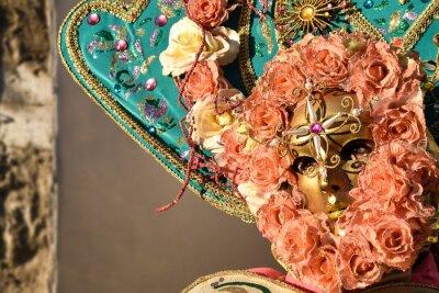 Königin der Rosen, Venezianische Karnevalsmaske, Venedig, Italien