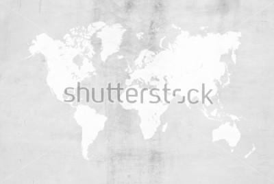 Sticker Konkreter Gipszement, der Dachbodenartwand oder Bodenbeschaffenheitszusammenfassungsoberflächen-Hintergrundgebrauch für Hintergrund mit Weltkarte poliert