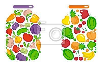 Konserviert Gemüse und Obst im Glas