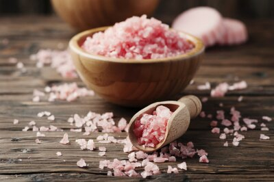 Sticker Konzept der Spa-Behandlung mit rosa Salz