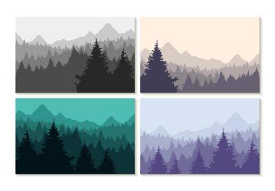 Sticker Konzept Illustration Winter Wald Landschaft gesetzt