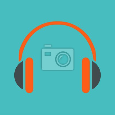 Kopfhörer-Symbol auf blauem Hintergrund Vektor-Illustration