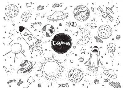 Sticker Kosmische Objekte gesetzt. Hand gezeichnet Vektor Gekritzel. Raketen, Planeten, Konstellationen, UFO, Sterne usw. Raumthema.