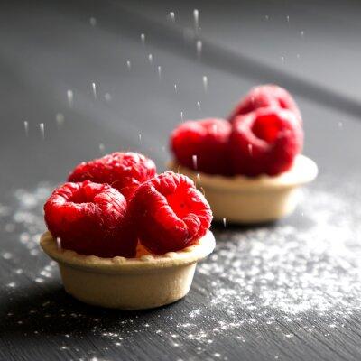 Sticker Köstliche Dessert Torten mit frischen Himbeeren